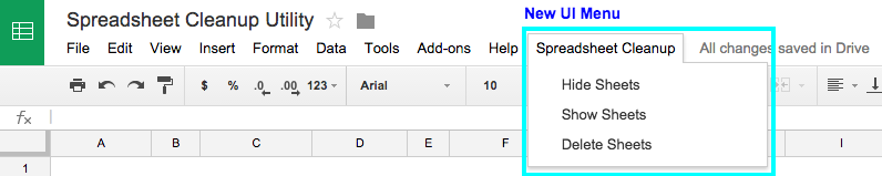 Google Spreadsheets UI Menu