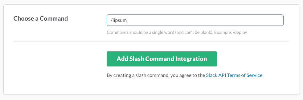 create a slack slash command