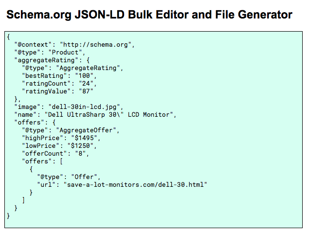 JSON-LD Bulk Editor and File Generator for Google Sheets